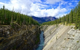 Обои лес, небо, облака, деревья, горы, река, скалы