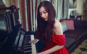 Обои музыка, пианино, девушка