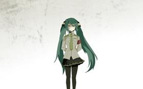 Картинка девушка, стена, арт, галстук, форма, vocaloid, hatsune miku