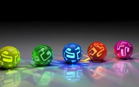 Обои фон, шары, цветные, плоскость