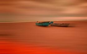 Обои берег, лодки, отлив