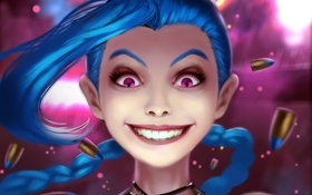 Обои улыбка, пуля, lol, league of legends, crazy, jinx