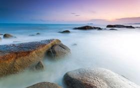 Обои море, гладь, камни, рассвет, выдержка