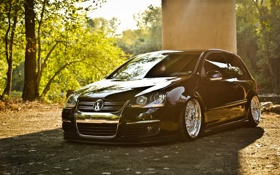 Картинка тюнинг, Volkswagen, гольф, посадка, передок, Golf, GTI