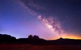 Картинка горы, пустыня, долина, млечный путь, Arizona
