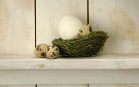 Обои корзина, яйца, пасха, полка