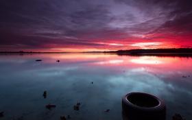 Обои закат, пейзаж, озеро