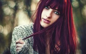Картинка Girl, Beauty, Eyes, Lips, Bokeh, Jacket, Alexandra