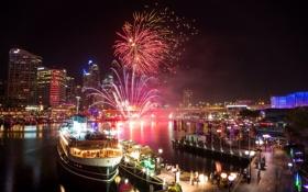 Обои ночь, корабль, пристань, порт, Сидней, фейрверк