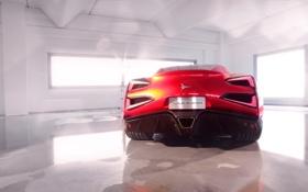 Картинка Красный, Машина, Купэ, Спорткар, Вид сзади, Помещение, Vulcano