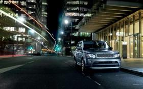 Картинка ночь, огни, Land Rover, Range Rover, Sport