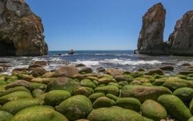 Обои бухта, камни, скалы, небо, море