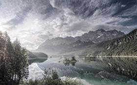 Картинка лес, горы, природа, озеро, островки