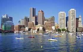 Обои США, река, дома, Boston, небоскребы, лодки