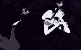 Обои девушка, бабочки, Аниме, Wallpaper