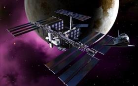 Обои челнок, МКС, станция, Луна
