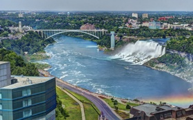 Картинка панорама, Ниагарский водопад, Rainbow Bridge, Niagara Falls, Радужный мост