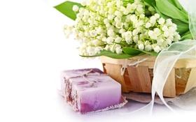 Картинка цветы, мыло, ландыши, soap, flowers, spa, lilies