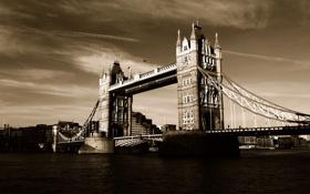 Обои Англия, Лондон, сепия, Темза, Тауэрский мост, Tower Bridge