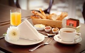 Картинка цветок, стакан, корзина, кофе, сок, тарелка, хлеб