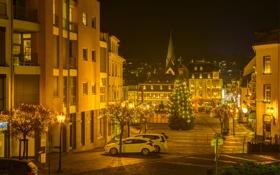 Картинка фото, ночь, елка, улица, Mayen, город, Германия