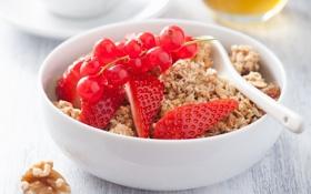 Обои хлопья, cereals, Здоровый завтрак, мюсли с молоком и фруктами и ягодами, muesli with milk and ...