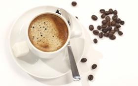 Обои пена, кофе, кружка, напиток, кофейные зёрна, ложечка, блюдце