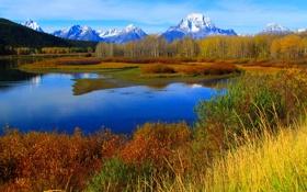 Картинка осень, трава, снег, деревья, горы, озеро, река