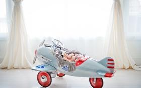 Обои самолет, сон, малыш