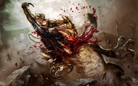 Обои кровь, воин, чудовище, схватка, Dave Wilkins