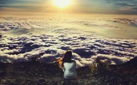 Обои девушка, настроение, небо