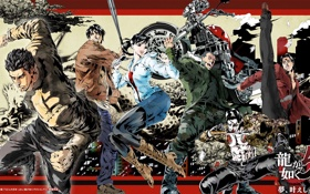 Картинка PS3, Yakuza 5, Shun Akiyama, Kazuma Kiryu, Харука Савамура, Сюн Акияма, Подобный дракону 5: Тот ...