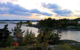 Картинка осень, лес, озеро, остров, вечер, Карелия