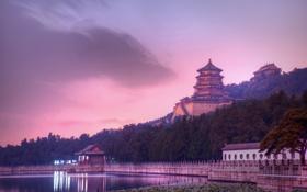 Картинка закат, вечер, Китай, сумерки, Пекин, летний дворец