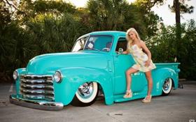 Картинка авто, девушка, ретро, голубой, playboy, платье, блондинка