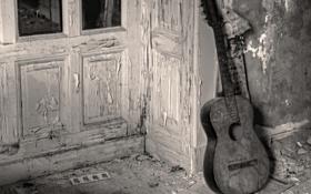 Обои музыка, фон, гитара, дверь