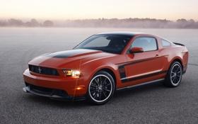 Обои красный, туман, Ford, mustang, мустанг, форд, boss 302