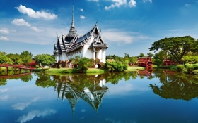 Картинка озеро, Азия, Bangkok, деревья, Таиланд, природа, Бангкок