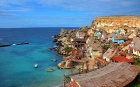 Обои Anchor Bay, поселок, дома, Мальта, небо, море, скала