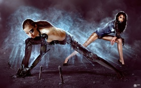 Обои кровь, Девушки, когти, ножи, киборги, фотоманипуляция, art by MadSpike