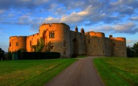 Картинка дорога, замок, Великобритания, Chirk Castle