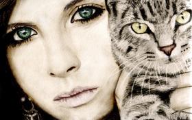 Обои кот, взгляд, девушка, лицо, ресницы, животное, серьги