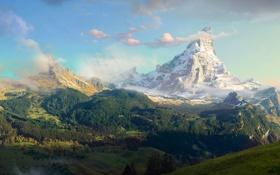 Картинка облака, панорама, дорога, горы, снег, небо