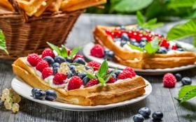 Картинка ягоды, вафли, berries, листики мяты, mint leaves, Вкусный десерт, Delicious dessert