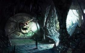 Обои череп, дверь, арт, факел, пещера, летучие мыши, путник