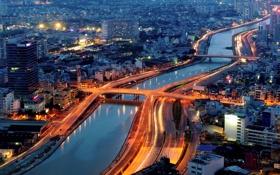 Обои река, здания, Вьетнам, мосты, ночной город, Vietnam, Сайгон