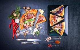 Картинка грибы, перец, пицца, pizza, специи, ветчина, pepper