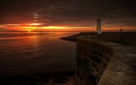 Картинка пейзаж, ночь, море, маяк
