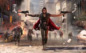 Картинка девушка, город, оружие, арт, зомби, выстрелы