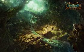Картинка река, люди, заросли, джунгли, храм, руины, воины